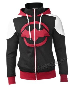 bluza BATMAN -  ARKHAM KNIGHT RED LOGO, rozpinana z kapturem
