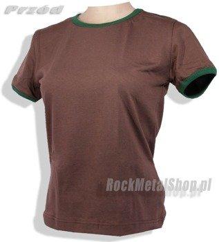 bluzka damska BRĄZOWA zielona lamówka