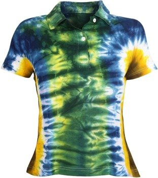 bluzka damska POLO barwiona GREEN/BLUE/YELLOW MIX