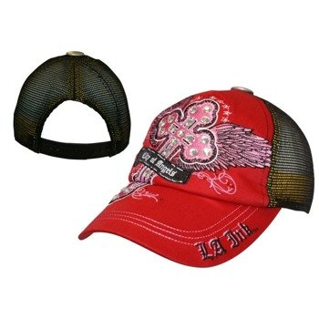 czapka LA INK - RED CAP W/ PINK WINGED CROSS