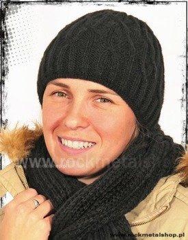 czapka damska kolor czarny