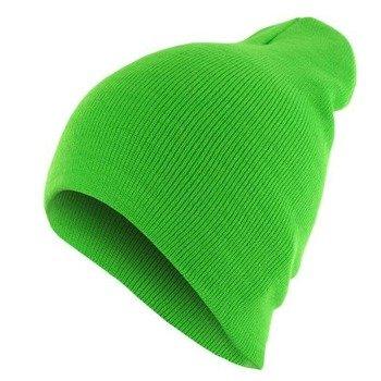 czapka zimowa MASTERDIS - BEANIE BASIC FLAP neongreen