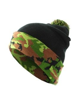 czapka zimowa MASTERDIS - BEANIE POMPON CAMO black green camo