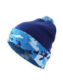 czapka zimowa MASTERDIS - BEANIE POMPON CAMO navy ocean