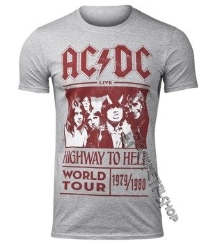 koszulka AC/DC - HIGHWAY TO HELL WORLD TOUR 1979/1980, szara