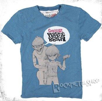 koszulka GORILLAZ - PLASTIC BEACH niebieska