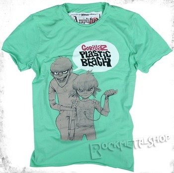 koszulka GORILLAZ - PLASTIC BEACH zielona