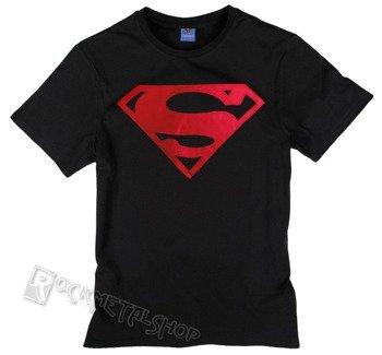 koszulka SUPERMAN - LOGO METAL ROUGE czarna
