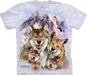 koszulka THE MOUNTAIN - WOLF SELFIE, barwiona