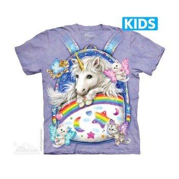 koszulka dziecięca THE MOUNTAIN - BACKPACK UNICORN, barwiona