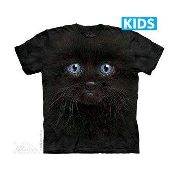 koszulka dziecięca THE MOUNTAIN - BLACK KITTEN FACE, barwiona