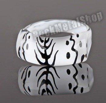 pierścień PATTERNS biały