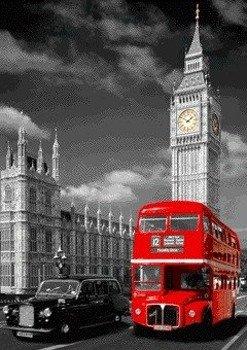 plakat 3D LONDON - BIG BEN, BUS AND TAXI