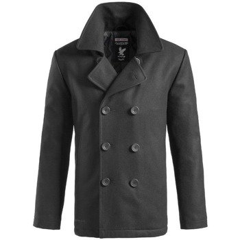 płaszcz marynarski PEA-COAT - BLACK,- SURPLUS
