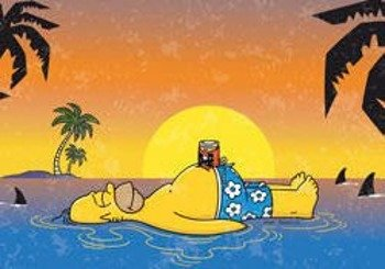 pocztówka SIMPSONS - HOMER SHARK