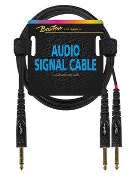 przewód audio BOSTON: 2 x DUŻY JACK MONO (6.3mm) - 1 x JACK STEREO (6,3mm) / 3m