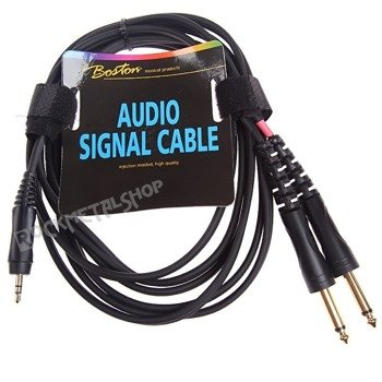 przewód audio BOSTON: 2 x DUŻY JACK MONO (6.3mm) - MAŁY JACK STEREO (3.5mm) / 3m