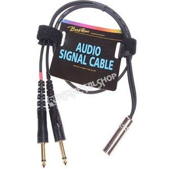 przewód audio BOSTON: 2 x JACK MONO duży (6.3mm) - gniazdo DUŻY JACK STEREO (6.3mm) / 0,75m