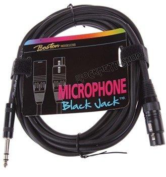 przewód mikrofonowy BOSTON: XLR -  DUŻY JACK STEREO (6.3mm) / 5m