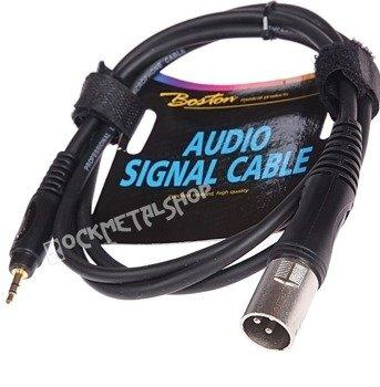 przewód mikrofonowy BOSTON: XLR męski - mały JACK STEREO (3.5mm) / 3m