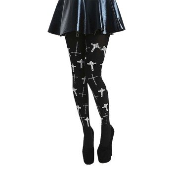 rajstopy FLOCKED GOTH CROSSES TIGHTS