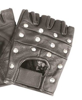 rękawiczki SKÓRZANE bez palców z ćwiekami CONE STUD