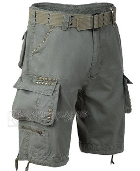 spodnie bojówki krótkie SAVAGE STUDS SHORTS - OLIV