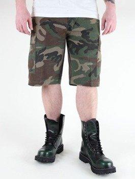 spodnie bojówki krótkie US BERMUDA RIP-STOP COTTON PREWASH WOODLAND