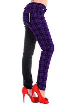 spodnie damskie BANNED - BLACK/PURPLE CHECK