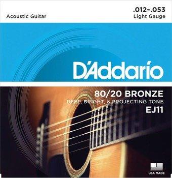 struny do gitary akustycznej 80/20 D'ADDARIO - BRONZE / Light (EJ11) /012-053/