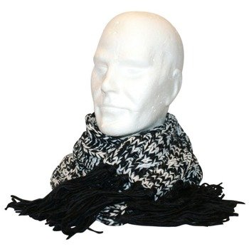 szalik FREE AUTHORITY - BLACK/WHITE KNIT SCARF