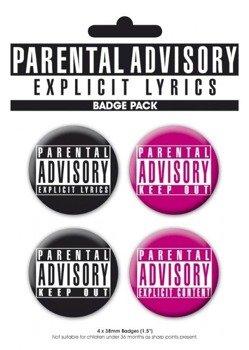 zestaw 4 przypinek PARENTAL ADVISORY