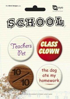 zestaw 4 przypinek SCHOOL