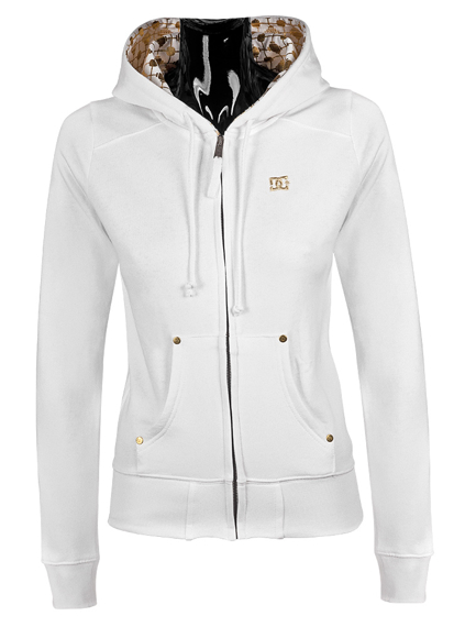 Bluza damska na zamek DC (SPUN ZIP) (WHITE)