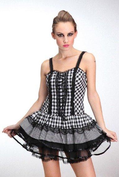 Sukienka gotycka LIVING DEAD SOULS (WHITE BLACK)