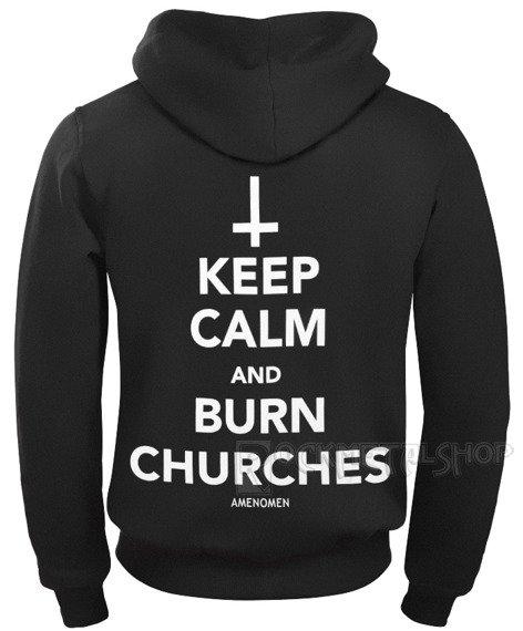 bluza AMENOMEN - KEEP CALM AND BURN CHURCHES rozpinana, z kapturem (OMEN069CR)
