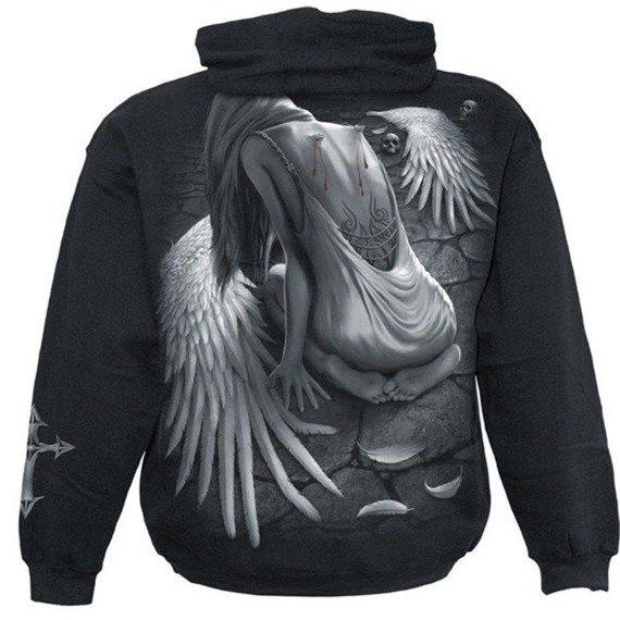 bluza BROKEN ANGEL czarna, z kapturem