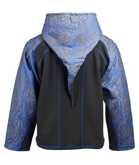 bluza HEXAGON - TRIBAL BLACK & BLUE rozpinana, z kapturem