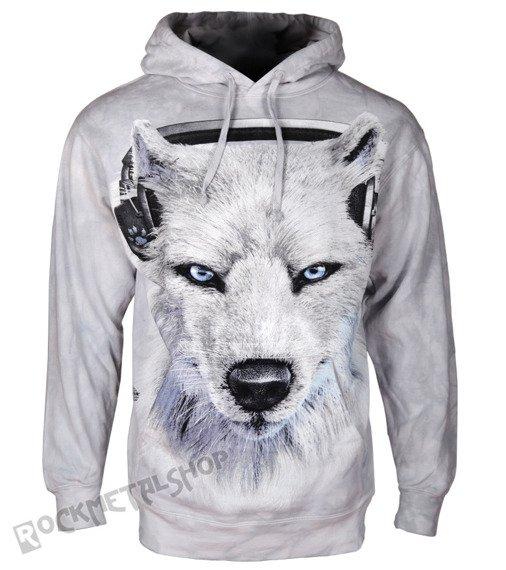 bluza THE MOUNTAIN - WHITE WOLF DJ, kangurka z kapturem, barwiona