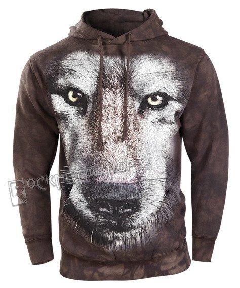 bluza THE MOUNTAIN - WOLF FACE, kangurka z kapturem, barwiona