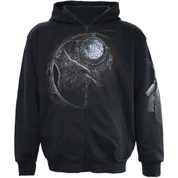 bluza rozpinana WOLF DREAM czarna, z kapturem