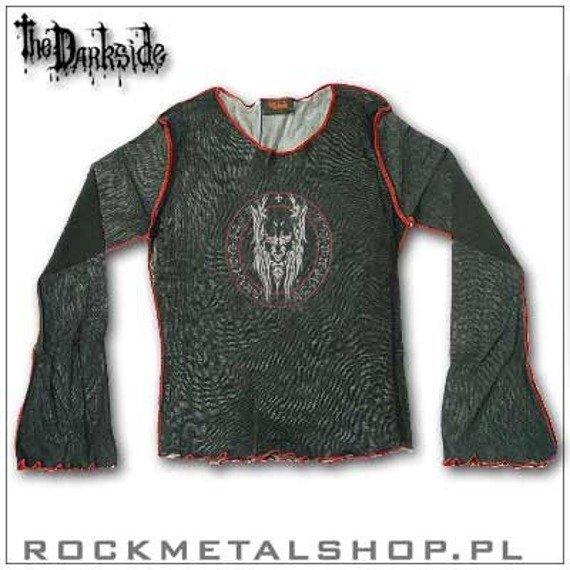 bluzka damska DEMON IN SPELL czarna z czerwonymi szwami (mesh, dł.rękaw)
