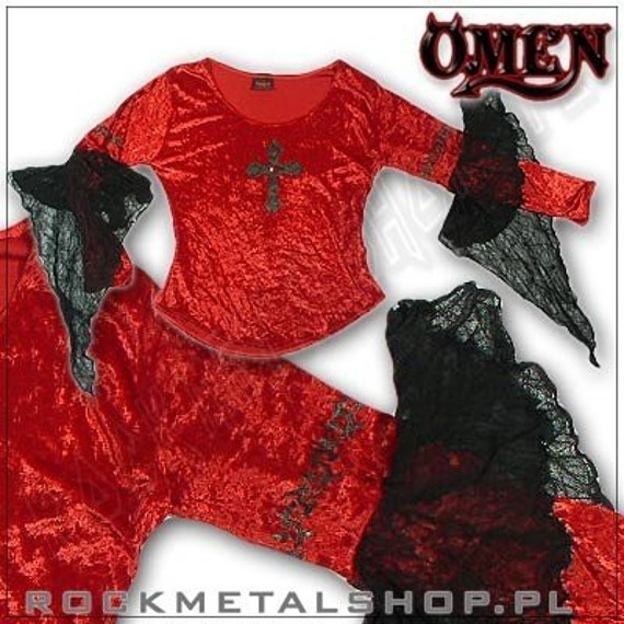 bluzka damska ELENORA, czerwona, (velvet, rękawy mesh) firma OMEN (439)