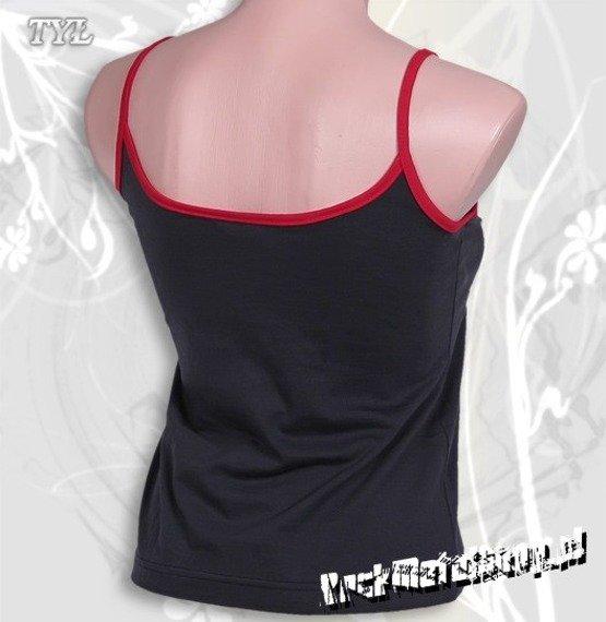 bluzka damska PARENTAL ADVISORY granatowa, na ramiączkach