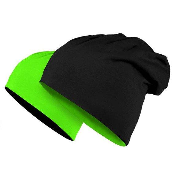 czapka dwustronna MASTERDIS - JERSEY BEANIE REVERSIBLE black/neongreen