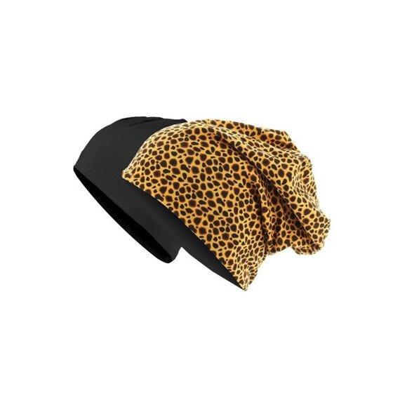 czapka dwustronna MASTERDIS - PRINTED JERSEY BEANIE cheetah/black