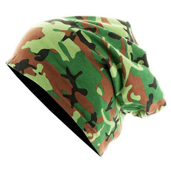 czapka dwustronna MASTERDIS - PRINTED JERSEY BEANIE green camo/black