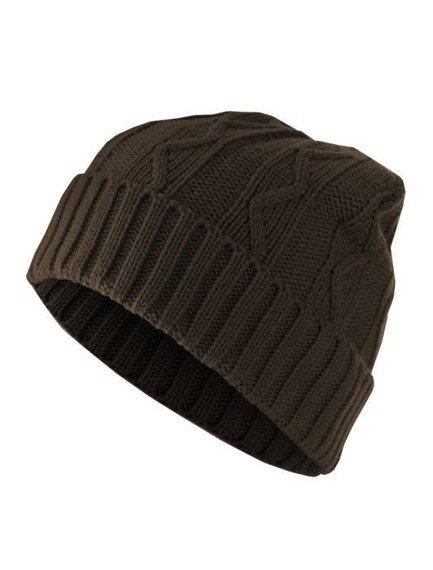 czapka zimowa MASTERDIS - CABLE FLAP chocolate