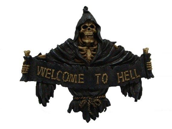 dekoracja WELCOME TO HELL, na drzwi