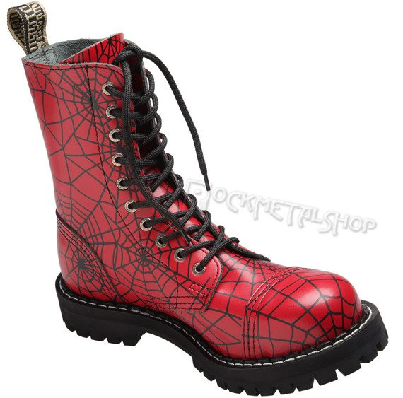 glany STEEL - SPIDER BLACK / FULL RED (10-dziurkowe)